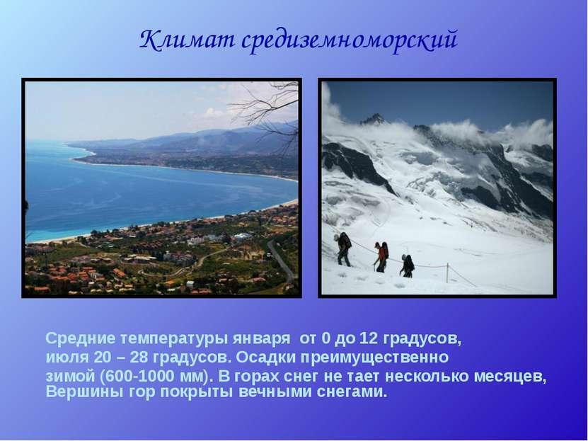 Климат средиземноморский Средние температуры января от 0 до 12 градусов, июля...
