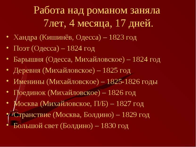 Работа над романом заняла 7лет, 4 месяца, 17 дней. Хандра (Кишинёв, Одесса) –...