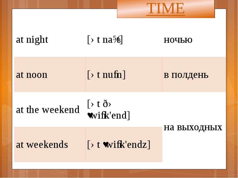TIME at night [ət naɪt] ночью at noon [ətnuːn] в полдень at the weekend [ətðə...