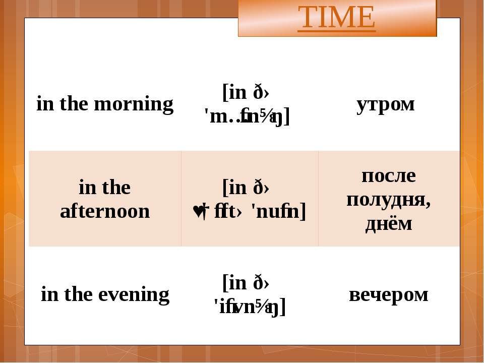 TIME in the morning [inðə'mɔːnɪŋ] утром in the afternoon [inðəˌɑːftə'nuːn] по...