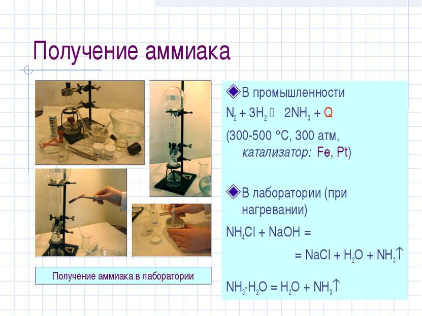 Получение аммиака В промышленности N2 + 3H2 2NH3 + Q (300-500 С, 300 атм, кат...