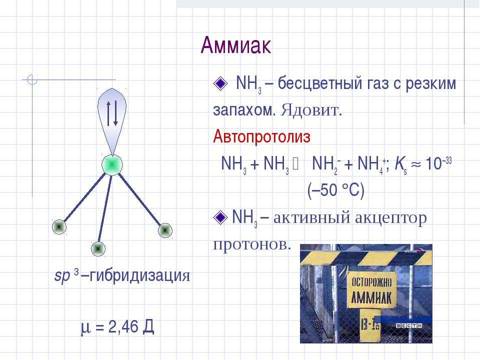 Аммиак NH3 – бесцветный газ с резким запахом. Ядовит. Автопротолиз NH3 + NH3 ...