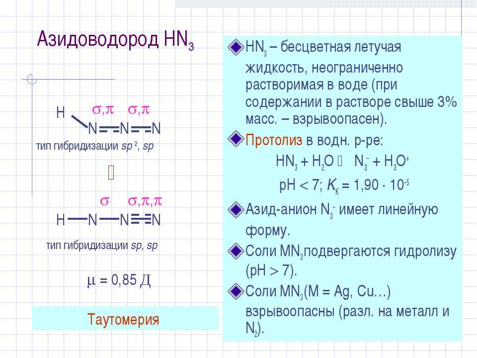 Азидоводород HN3 HN3 – бесцветная летучая жидкость, неограниченно растворимая...