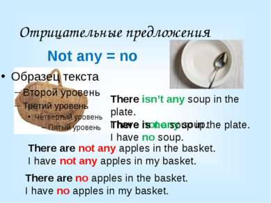 Отрицательные предложения There are not any apples in the basket. I have not ...