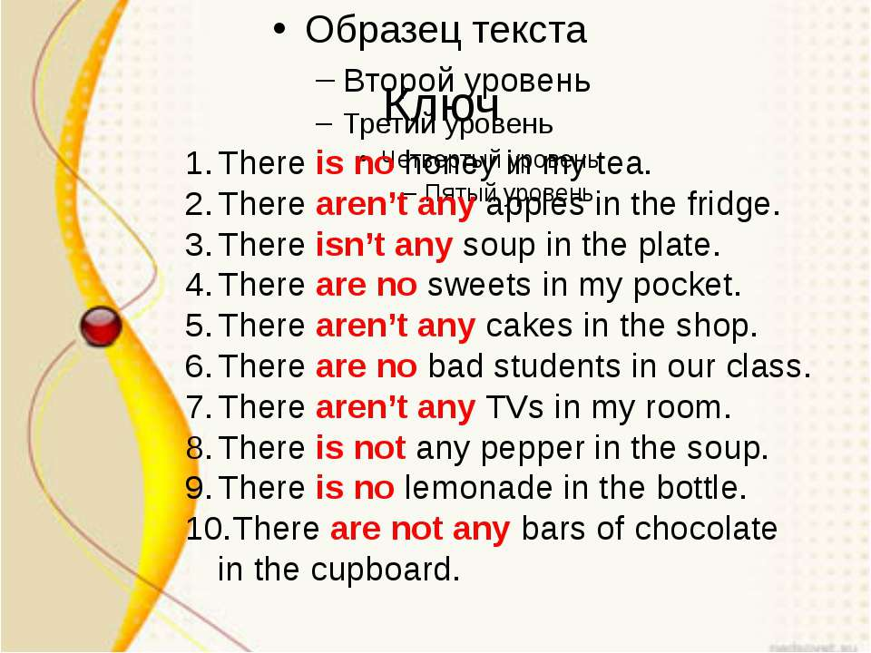 Ключ There is no honey in my tea. There aren't any apples in the fridge. Ther...
