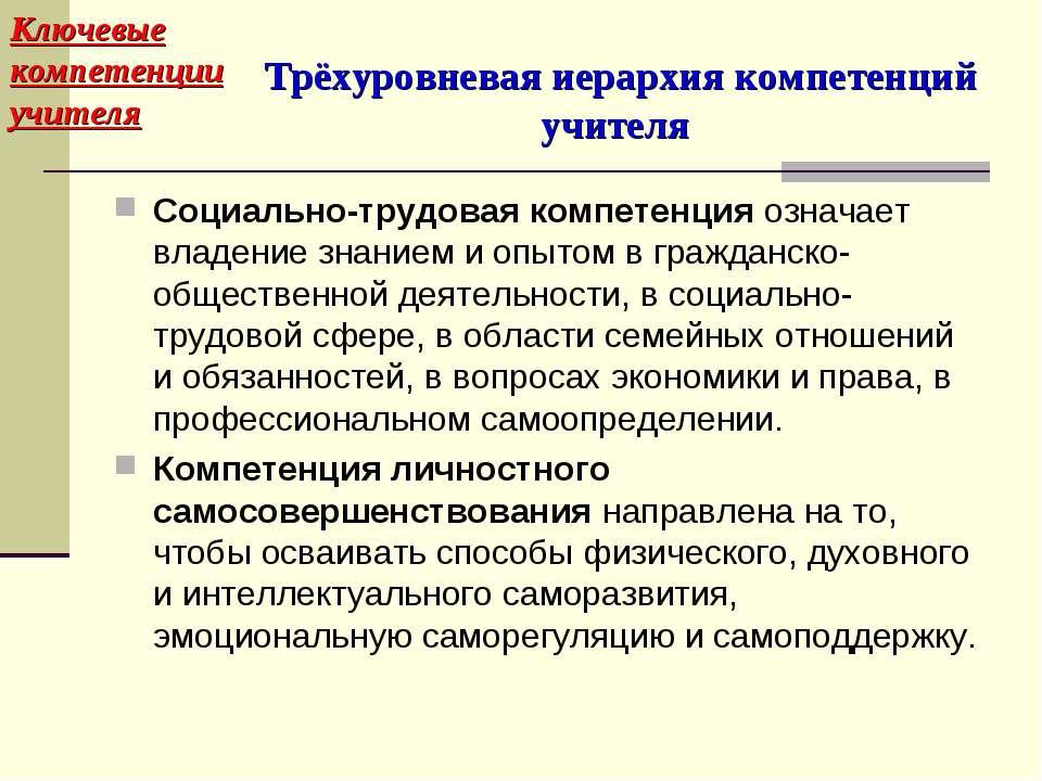 Трёхуровневая иерархия компетенций учителя Социально-трудовая компетенция озн...