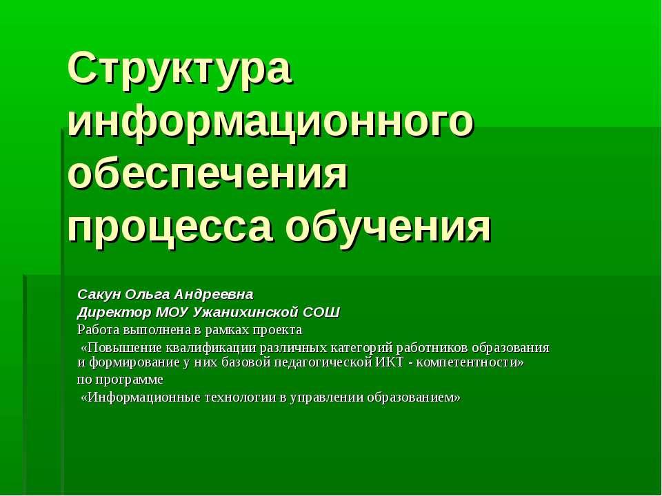 Структура информационного обеспечения процесса обучения Сакун Ольга Андреевна...