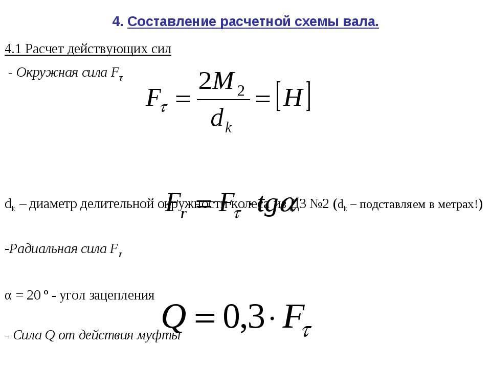 4. Составление расчетной схемы вала. 4.1 Расчет действующих сил - Окружная си...