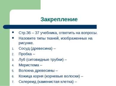 Закрепление Стр.36 – 37 учебника, ответить на вопросы. Назовите типы тканей, ...