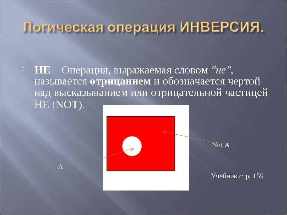 """НЕ  Операция, выражаемая словом """"не"""", называется отрицанием и обозначается ..."""