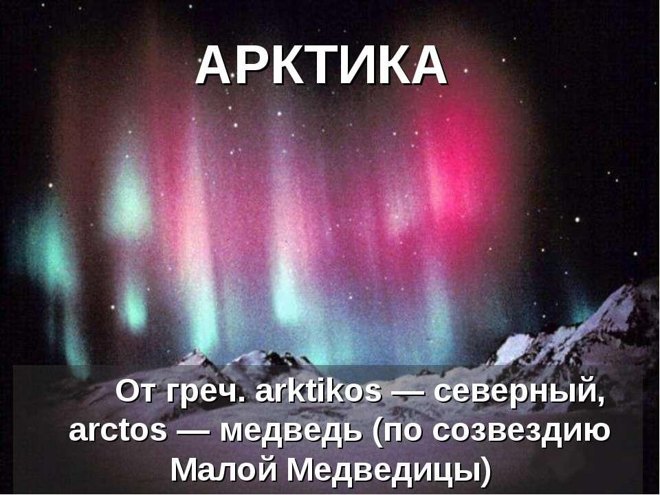 АРКТИКА От греч. arktikos— северный, аrctos— медведь (по созвездию Малой Ме...