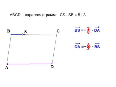 В С ABCD – параллелограмм. CS : SB = 5 : 3 А D BS = DA х S х