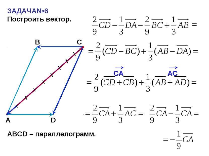 ЗАДАЧА№6 Построить вектор. С А В = АВСD – параллелограмм. D