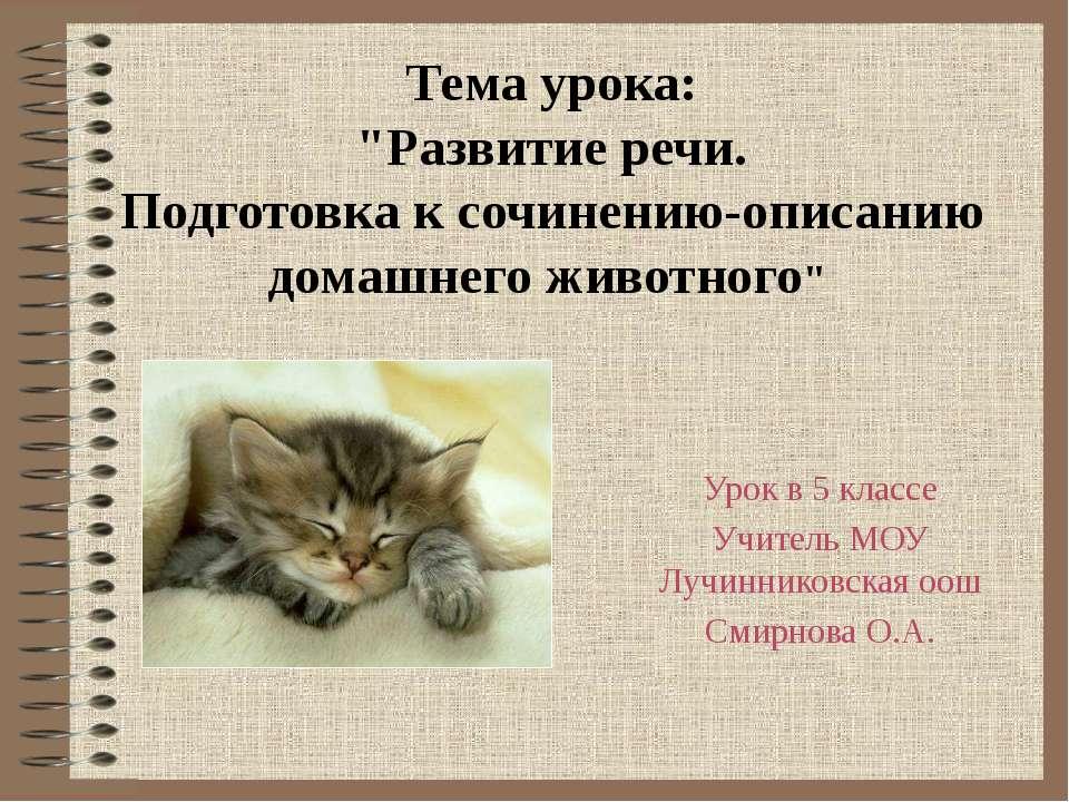 """Тема урока: """"Развитие речи. Подготовка к сочинению-описанию домашнего животно..."""