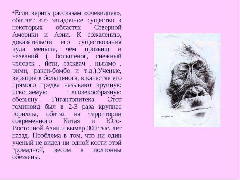 Если верить рассказам «очевидцев», обитает это загадочное существо в некоторы...