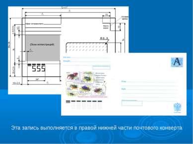 Эта запись выполняется в правой нижней части почтового конверта