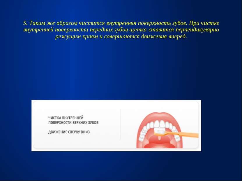 5. Таким же образом чистится внутренняя поверхность зубов. При чистке внутрен...