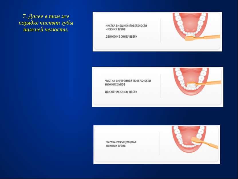7. Далее в том же порядке чистят зубы нижней челюсти.