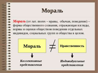 Мораль Мораль (от лат. mores – нравы, обычаи, поведение) – форма общественног...