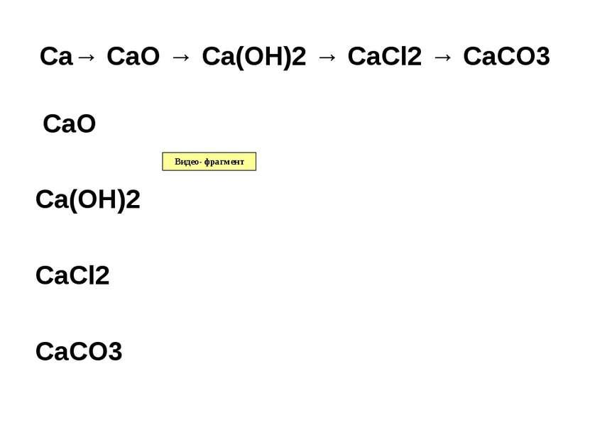 Ca→ CaO → Ca(OH)2 → CaCl2 → CaCO3 CaO Ca(OH)2 CaCl2 CaCO3 Видео- фрагмент