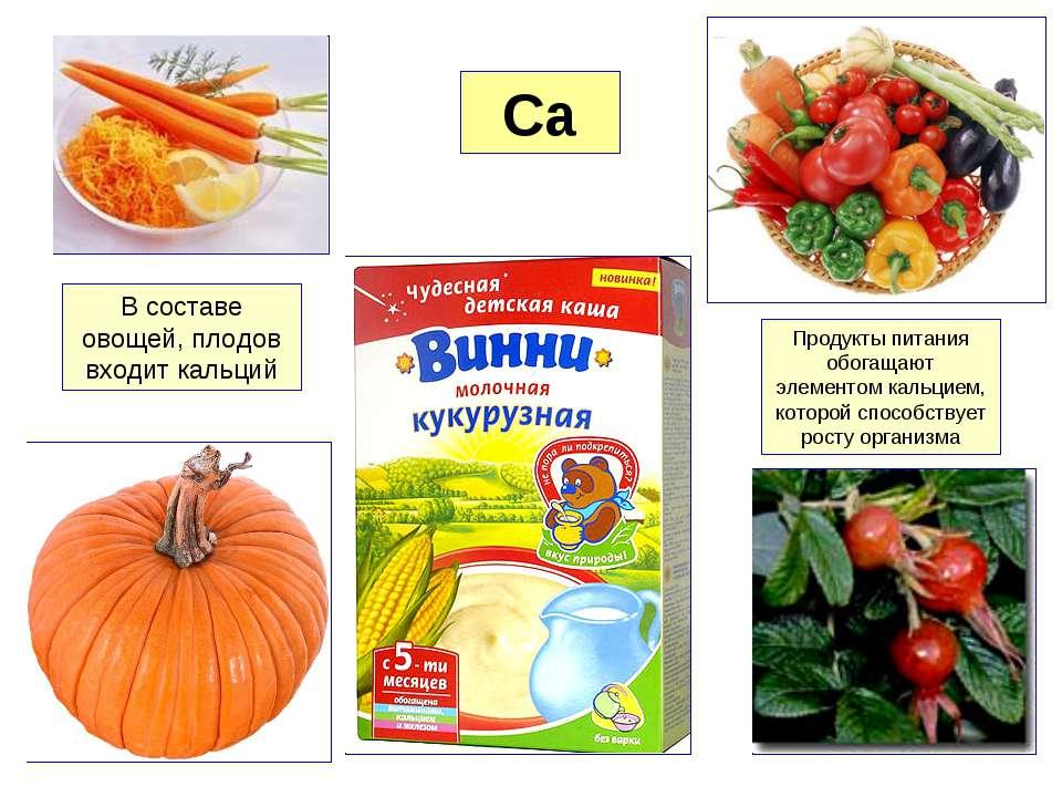 Ca В составе овощей, плодов входит кальций Продукты питания обогащают элемент...