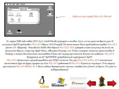 Рабочий стол первой Mac OS, 1984 год 24 марта 2000 года новый CEO Apple Стив ...