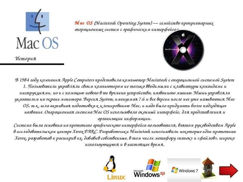 Mac OS (Macintosh Operating System)— семейство проприетарных операционных си...