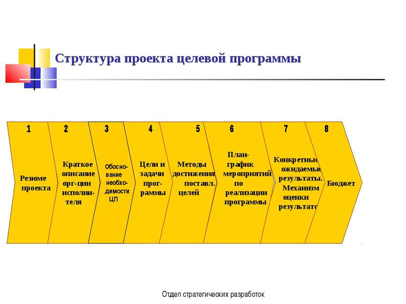 Отдел стратегических разработок Структура проекта целевой программы Резюме пр...