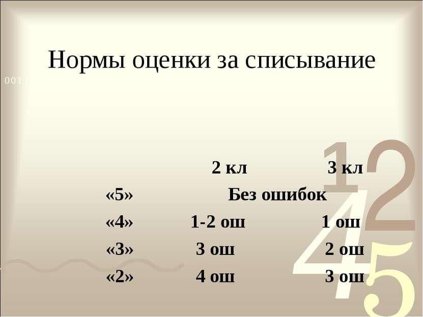 Нормы оценки за списывание 2 кл 3 кл «5» Без ошибок «4» 1-2 ош 1 ош «3» 3 ош ...