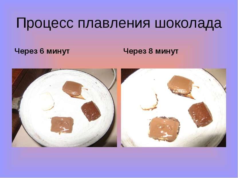 Процесс плавления шоколада Через 6 минут Через 8 минут