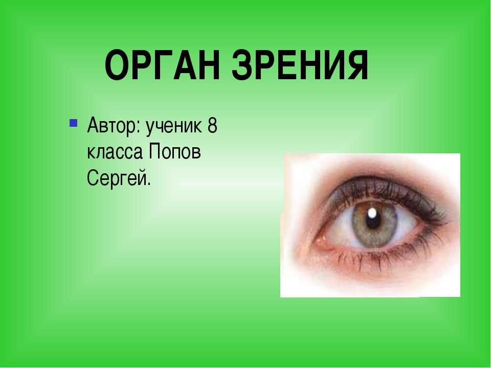 ОРГАН ЗРЕНИЯ Автор: ученик 8 класса Попов Сергей.
