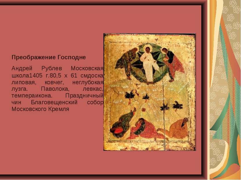 Преображение Господне Андрей Рублев Московская школа1405 г.80,5 x 61 смдоска...