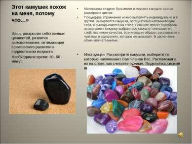 Этот камушек похож на меня, потому что…» Материалы: гладкие булыжники и морск...