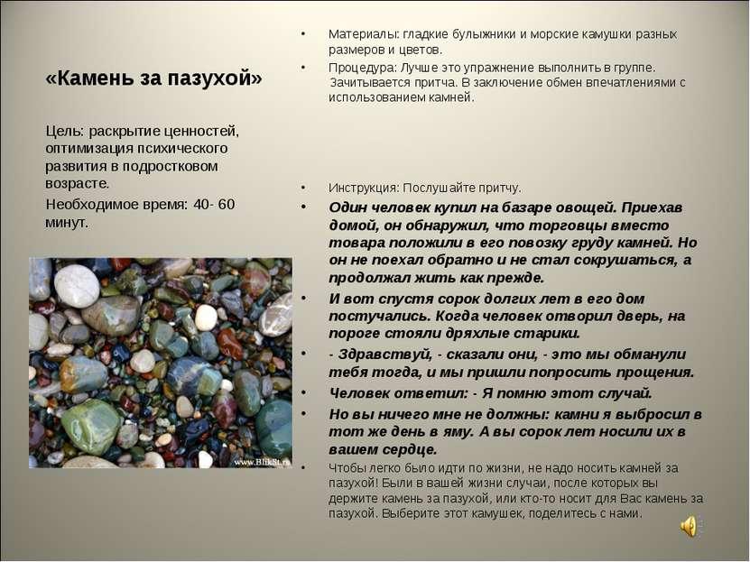 «Камень за пазухой» Материалы: гладкие булыжники и морские камушки разных раз...