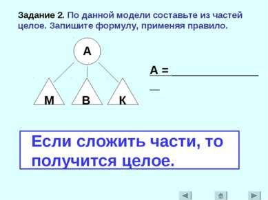 Задание 2. По данной модели составьте из частей целое. Запишите формулу, прим...