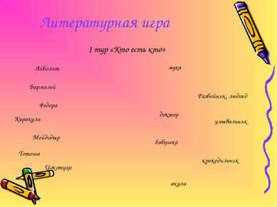 Литературная игра 1 тур «Кто есть кто» Айболит Бармалей Федора Каракула Мойдо...