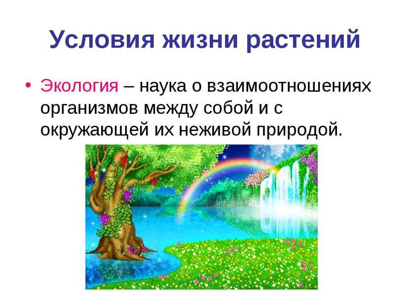 Условия жизни растений Экология – наука о взаимоотношениях организмов между с...