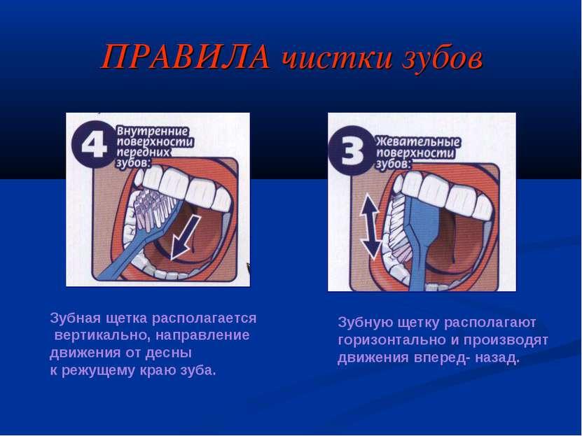 ПРАВИЛА чистки зубов Зубная щетка располагается вертикально, направление движ...