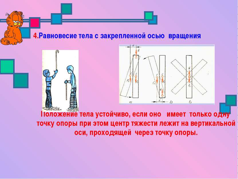 4.Равновесие тела с закрепленной осью вращения Положение тела устойчиво, если...