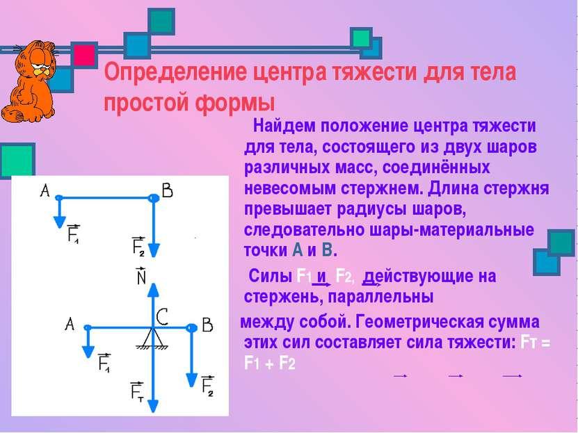 Определение центра тяжести для тела простой формы Найдем положение центра тяж...