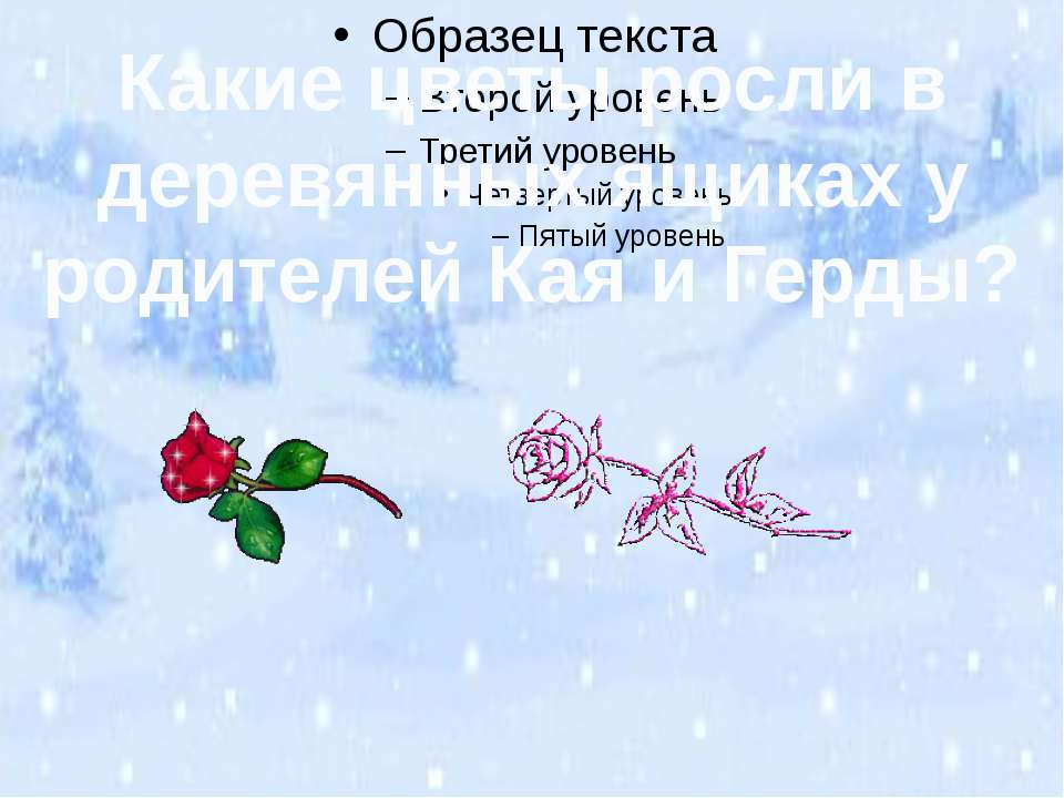Какие цветы росли в деревянных ящиках у родителей Кая и Герды?
