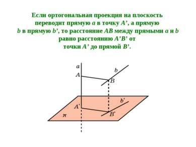 Если ортогональная проекция на плоскость переводит прямую a в точку A', а пря...
