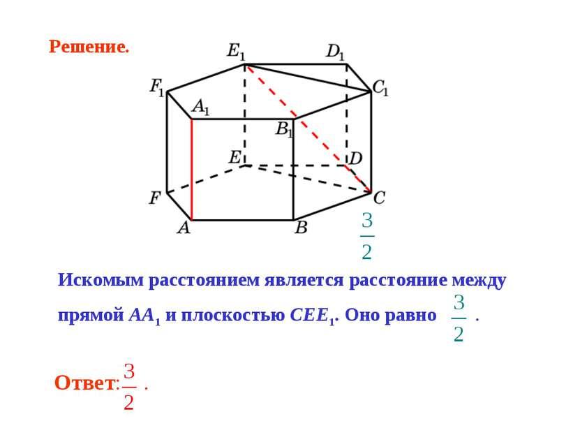 Искомым расстоянием является расстояние между прямой AA1 и плоскостью CEE1. О...