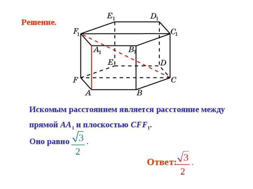 Искомым расстоянием является расстояние между прямой AA1 и плоскостью CFF1. О...