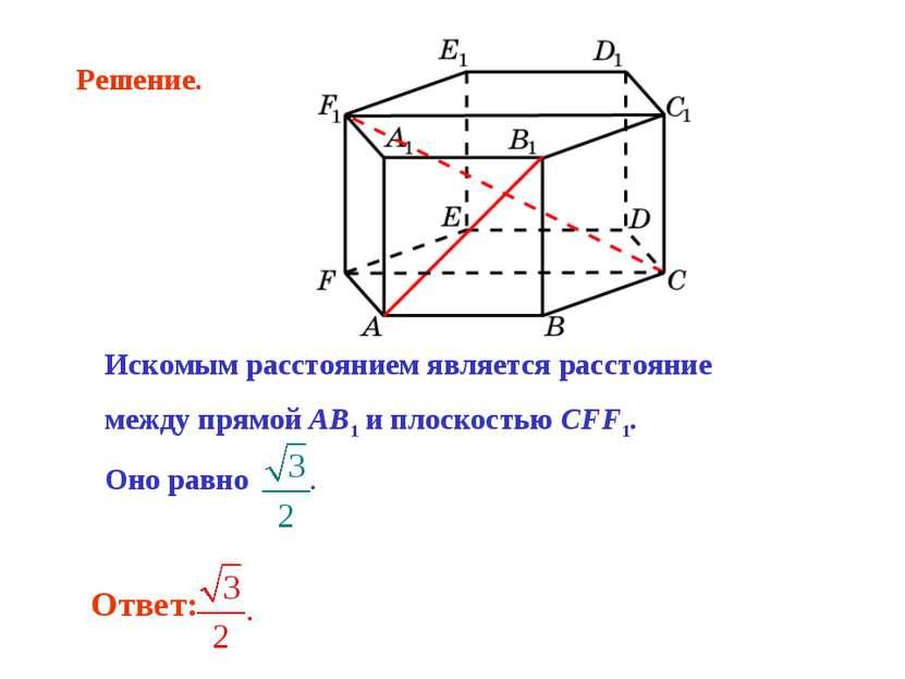 Искомым расстоянием является расстояние между прямой AB1 и плоскостью CFF1. О...