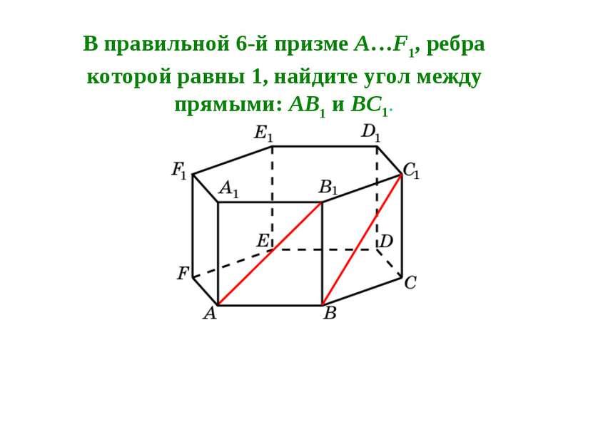 В правильной 6-й призме A…F1, ребра которой равны 1, найдите угол между прямы...