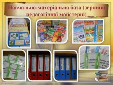 Навчально-матеріальна база (зернини педагогічної майстерні) *