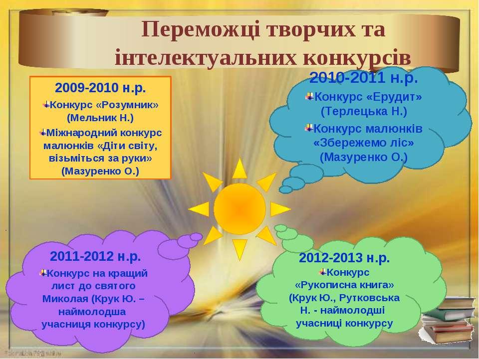 * Переможці творчих та інтелектуальних конкурсів 2009-2010 н.р. Конкурс «Розу...
