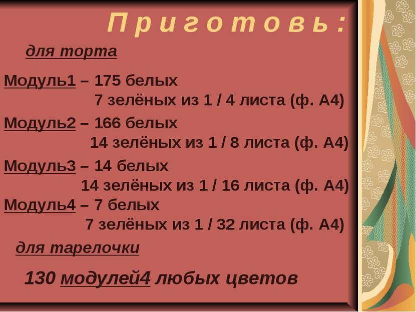 П р и г о т о в ь : Модуль1 – 175 белых 7 зелёных из 1 / 4 листа (ф. А4) Моду...