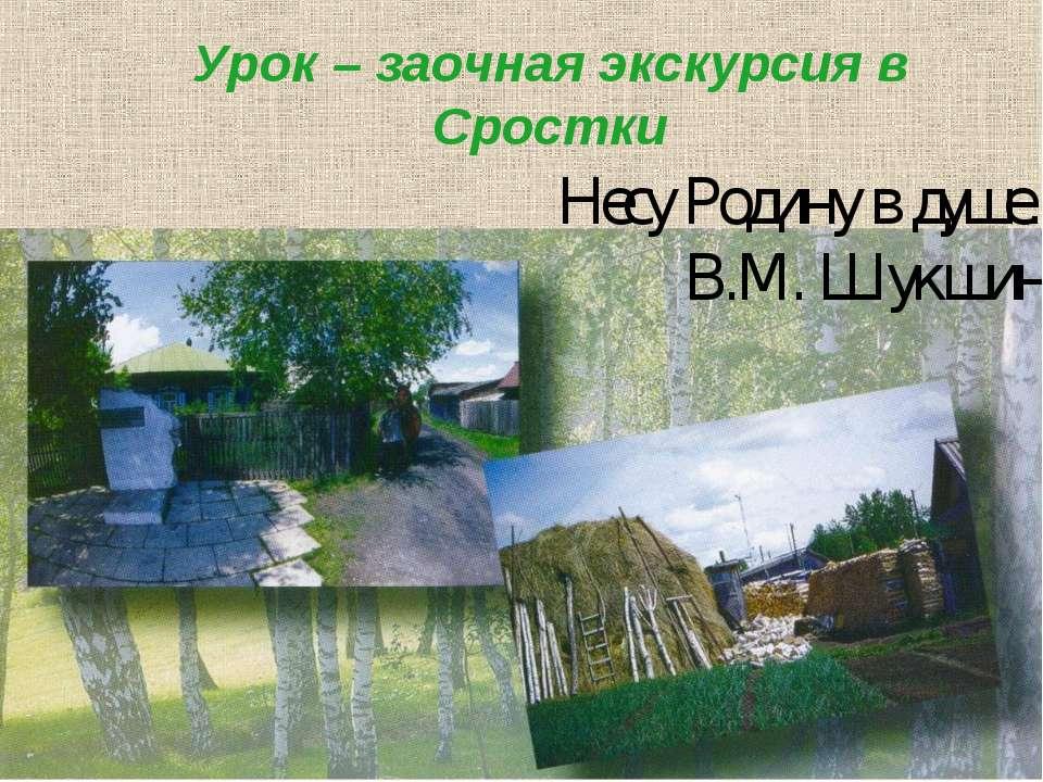 Урок – заочная экскурсия в Сростки Несу Родину в душе… В.М. Шукшин